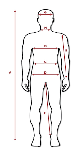 Tabela mjera za muškarce